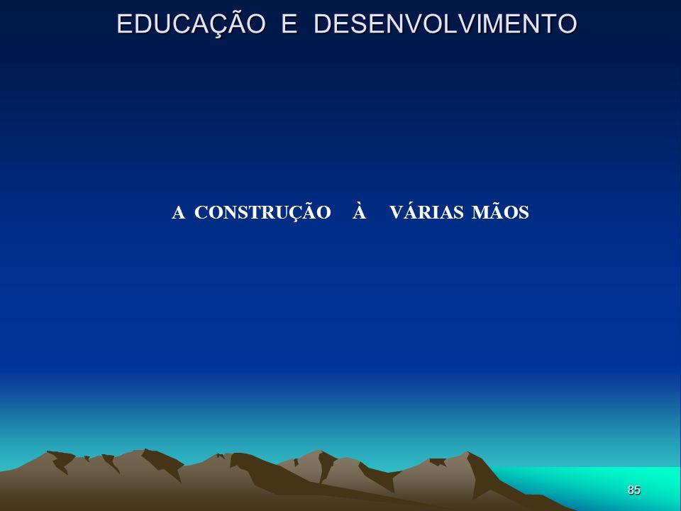 85 EDUCAÇÃO E DESENVOLVIMENTO A CONSTRUÇÃO À VÁRIAS MÃOS
