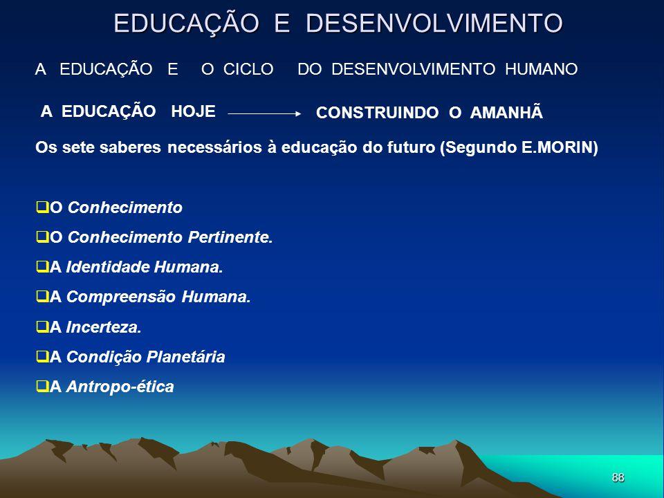 88 EDUCAÇÃO E DESENVOLVIMENTO A EDUCAÇÃO E O CICLO DO DESENVOLVIMENTO HUMANO A EDUCAÇÃO HOJE Os sete saberes necessários à educação do futuro (Segundo