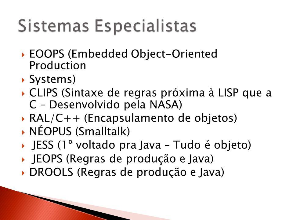  EOOPS (Embedded Object-Oriented Production  Systems)  CLIPS (Sintaxe de regras próxima à LISP que a C – Desenvolvido pela NASA)  RAL/C++ (Encapsu