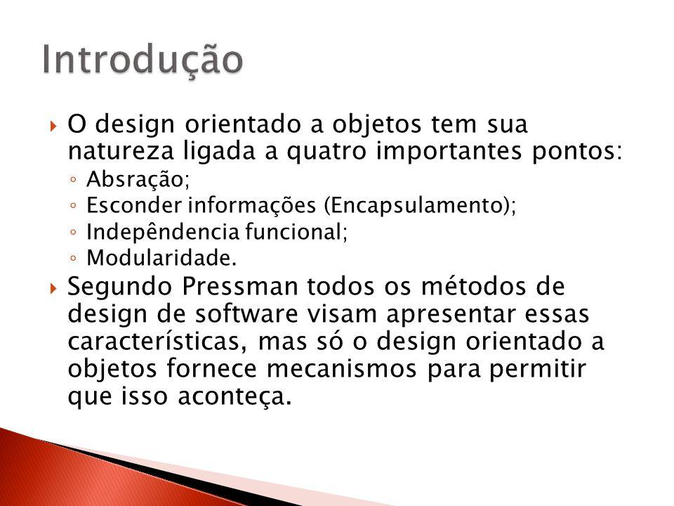  O design orientado a objetos tem sua natureza ligada a quatro importantes pontos: ◦ Absração; ◦ Esconder informações (Encapsulamento); ◦ Indepêndenc
