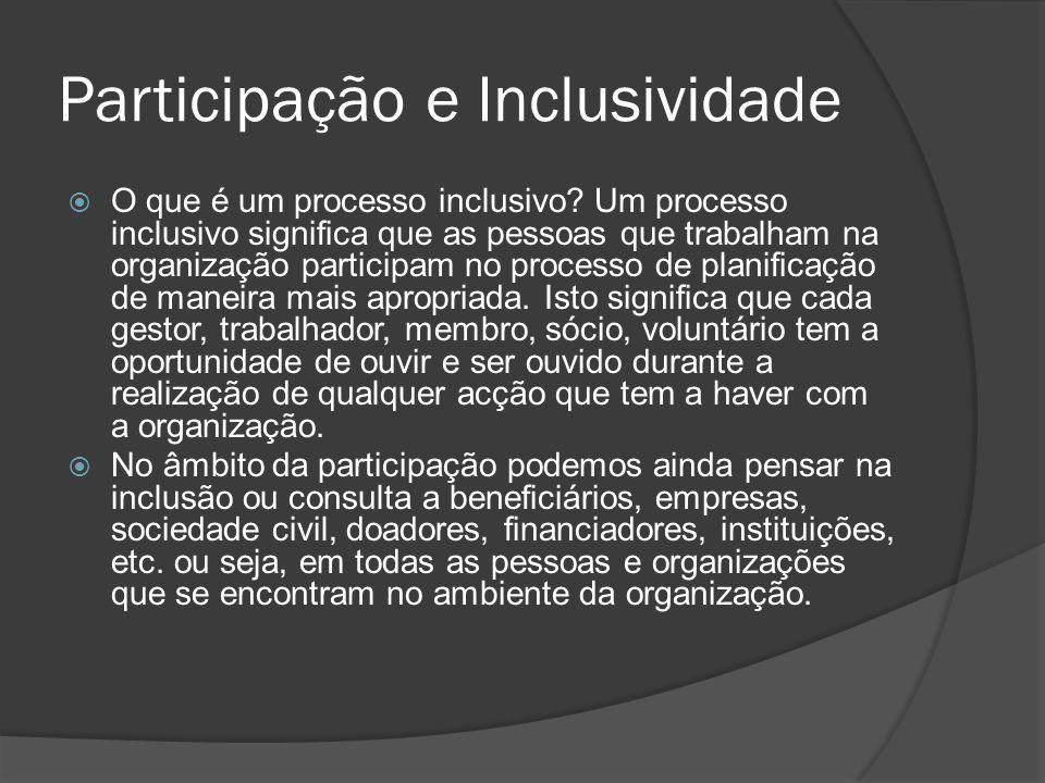 Participação e Inclusividade  O que é um processo inclusivo? Um processo inclusivo significa que as pessoas que trabalham na organização participam n
