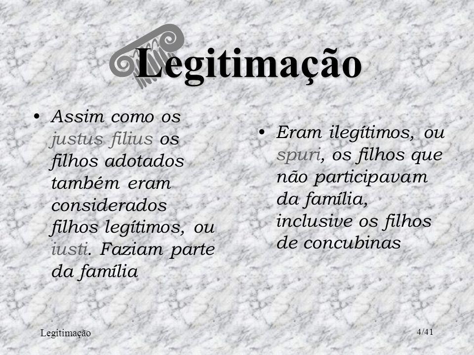 Legitimação 25/41 A Legitimação no Direito Civil Brasileiro São dois processos para reconhecimento previstos pelo Código Civil : – Espontâneo – Judicial