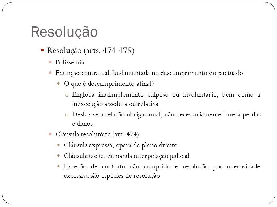 Resolução Resolução (arts. 474-475) Polissemia Extinção contratual fundamentada no descumprimento do pactuado O que é descumprimento afinal? oEngloba