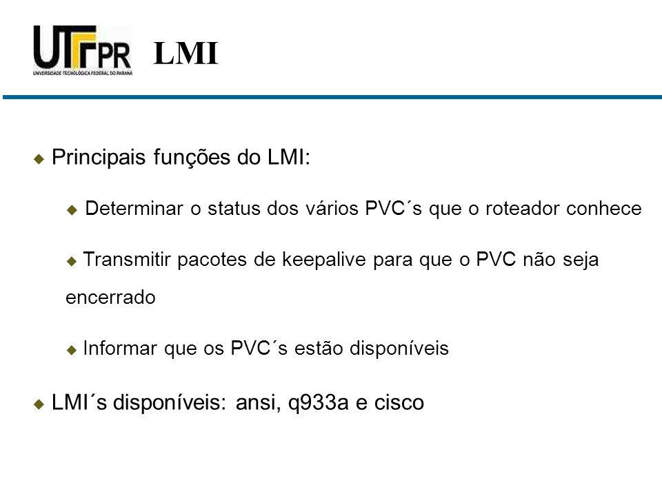  Principais funções do LMI:  Determinar o status dos vários PVC´s que o roteador conhece  Transmitir pacotes de keepalive para que o PVC não seja e