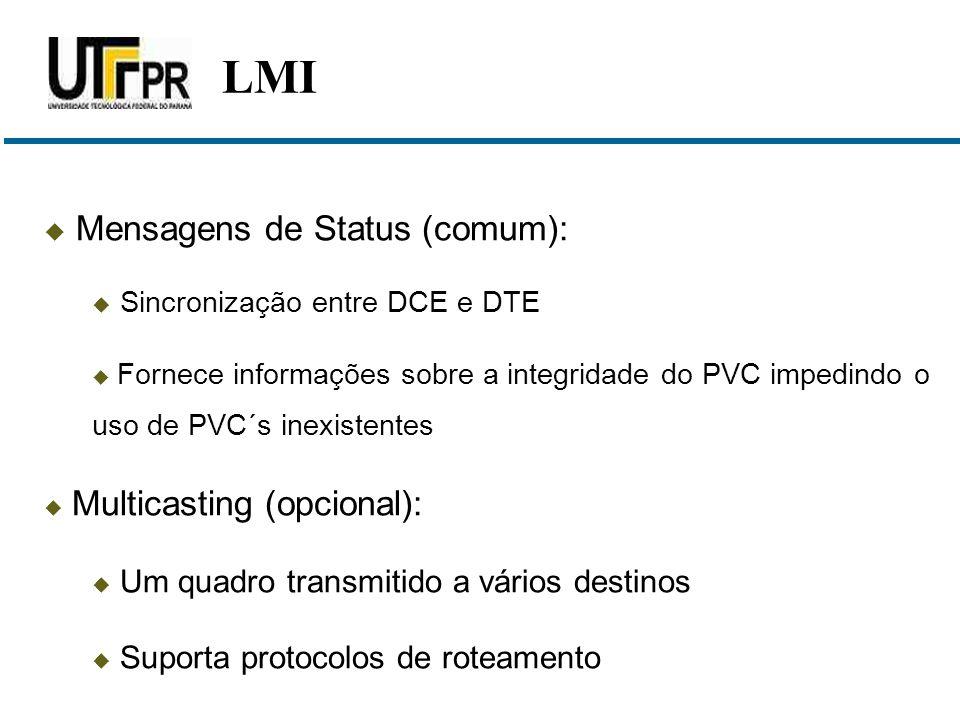 Mensagens de Status (comum):  Sincronização entre DCE e DTE  Fornece informações sobre a integridade do PVC impedindo o uso de PVC´s inexistentes