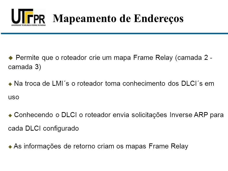  Permite que o roteador crie um mapa Frame Relay (camada 2 - camada 3)  Na troca de LMI´s o roteador toma conhecimento dos DLCI´s em uso  Conhecend