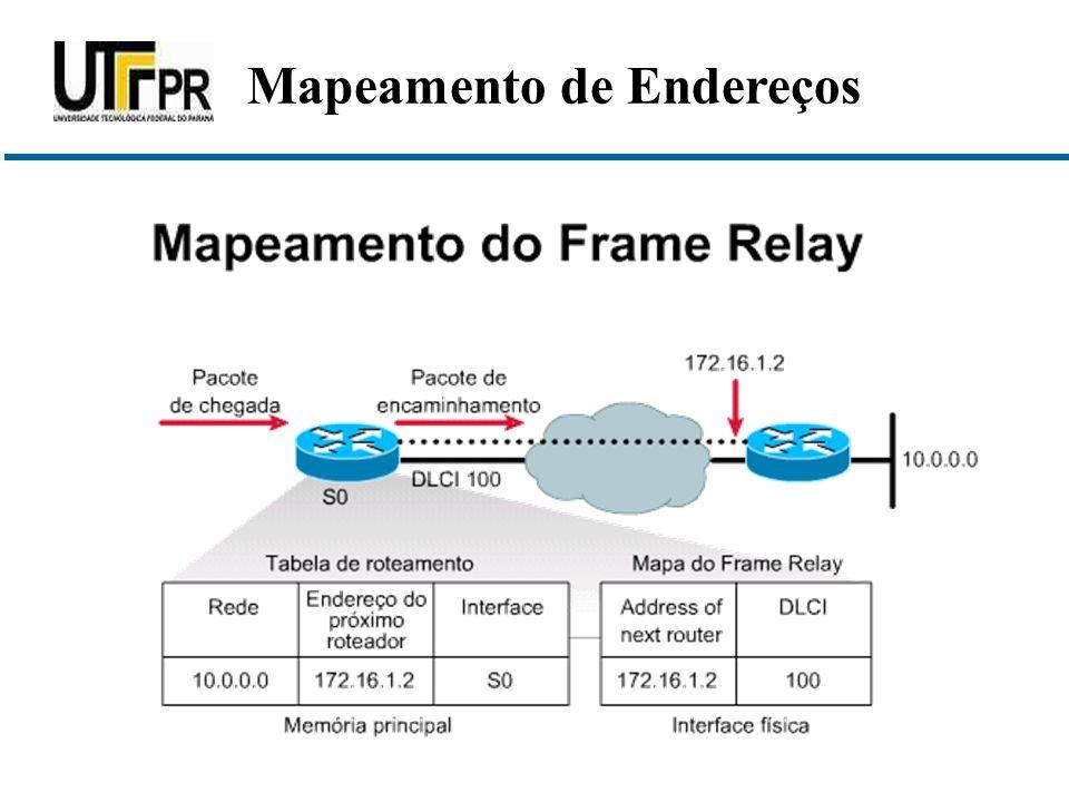  O mapeamento criado pelo recurso de inverse ARP é usado para compor os mapas do frame-relay  O mapeamento pode ser criado dinamicamente (inverse ARP) ou de forma estática (frame-relay map...) Mapeamento de Endereços