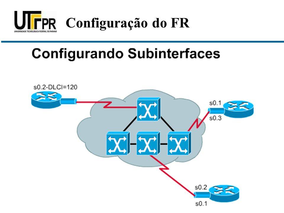router(config)# interface s0/0 O primeiro passo de configuração é definir que a Interface real utilize encapsulamento Frame Relay.