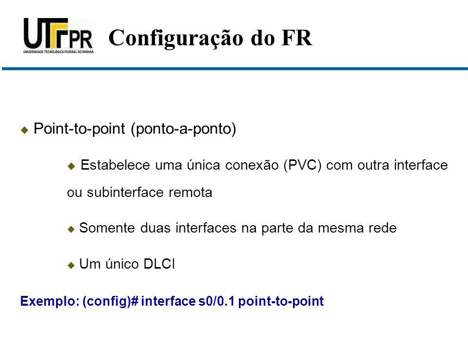  Point-to-point (ponto-a-ponto)  Estabelece uma única conexão (PVC) com outra interface ou subinterface remota  Somente duas interfaces na parte da