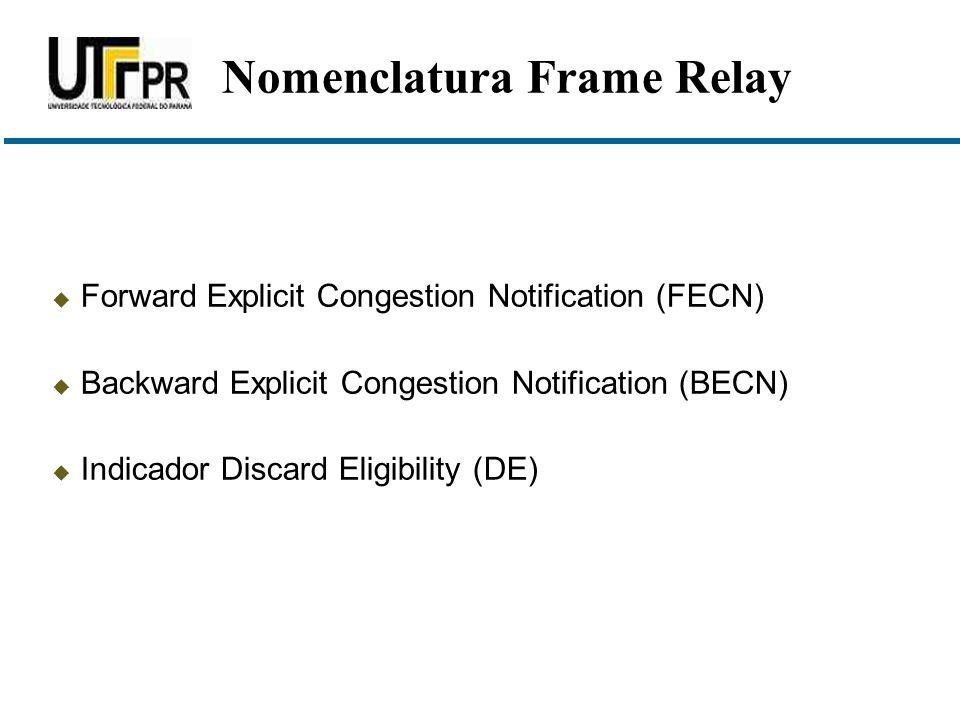  Forward Explicit Congestion Notification (FECN)  Backward Explicit Congestion Notification (BECN)  Indicador Discard Eligibility (DE) Nomenclatura