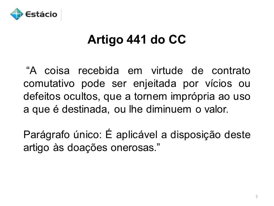 """3 Artigo 441 do CC """"A coisa recebida em virtude de contrato comutativo pode ser enjeitada por vícios ou defeitos ocultos, que a tornem imprópria ao us"""