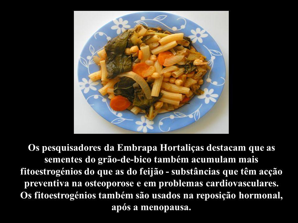 Os pesquisadores da Embrapa Hortaliças destacam que as sementes do grão-de-bico também acumulam mais fitoestrogénios do que as do feijão - substâncias que têm acção preventiva na osteoporose e em problemas cardiovasculares.