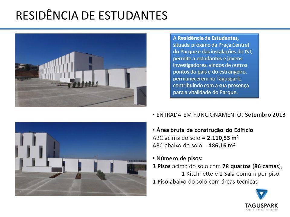 RESIDÊNCIA DE ESTUDANTES A Residência de Estudantes, situada próximo da Praça Central do Parque e das instalações do IST, permite a estudantes e jovens investigadores.