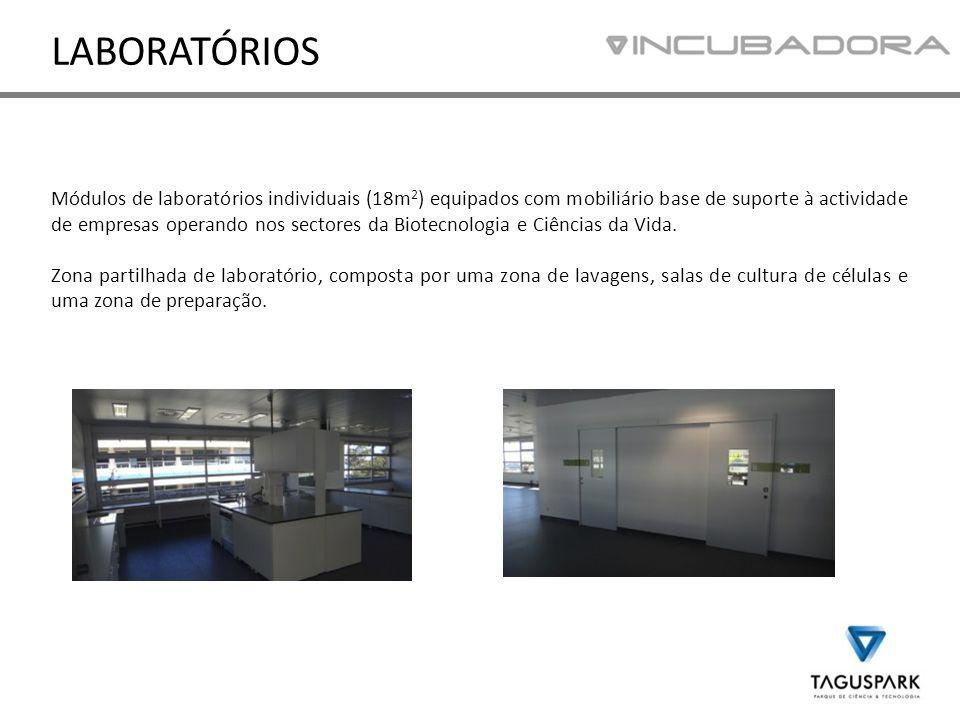Módulos de laboratórios individuais (18m 2 ) equipados com mobiliário base de suporte à actividade de empresas operando nos sectores da Biotecnologia e Ciências da Vida.