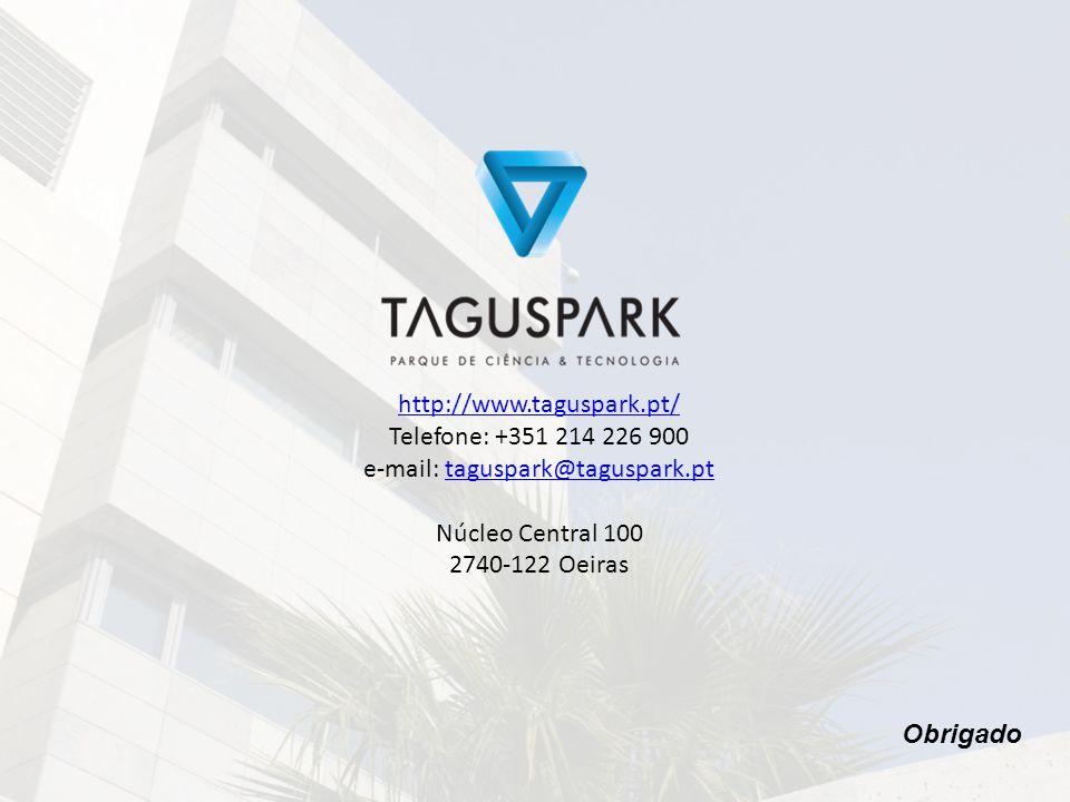 http://www.taguspark.pt/ Telefone: +351 214 226 900 e-mail: taguspark@taguspark.pttaguspark@taguspark.pt Núcleo Central 100 2740-122 Oeiras Obrigado