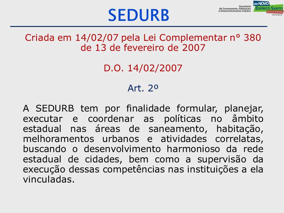 SEDURB Criada em 14/02/07 pela Lei Complementar n° 380 de 13 de fevereiro de 2007 D.O. 14/02/2007 Art. 2º A SEDURB tem por finalidade formular, planej