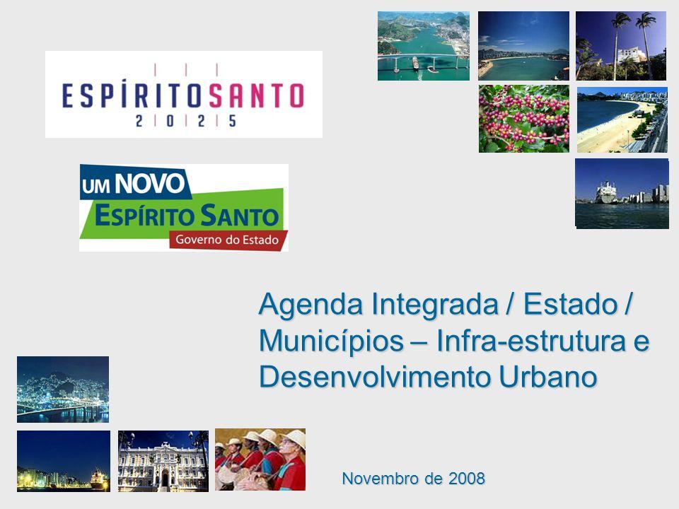 Novembro de 2008 Agenda Integrada / Estado / Municípios – Infra-estrutura e Desenvolvimento Urbano