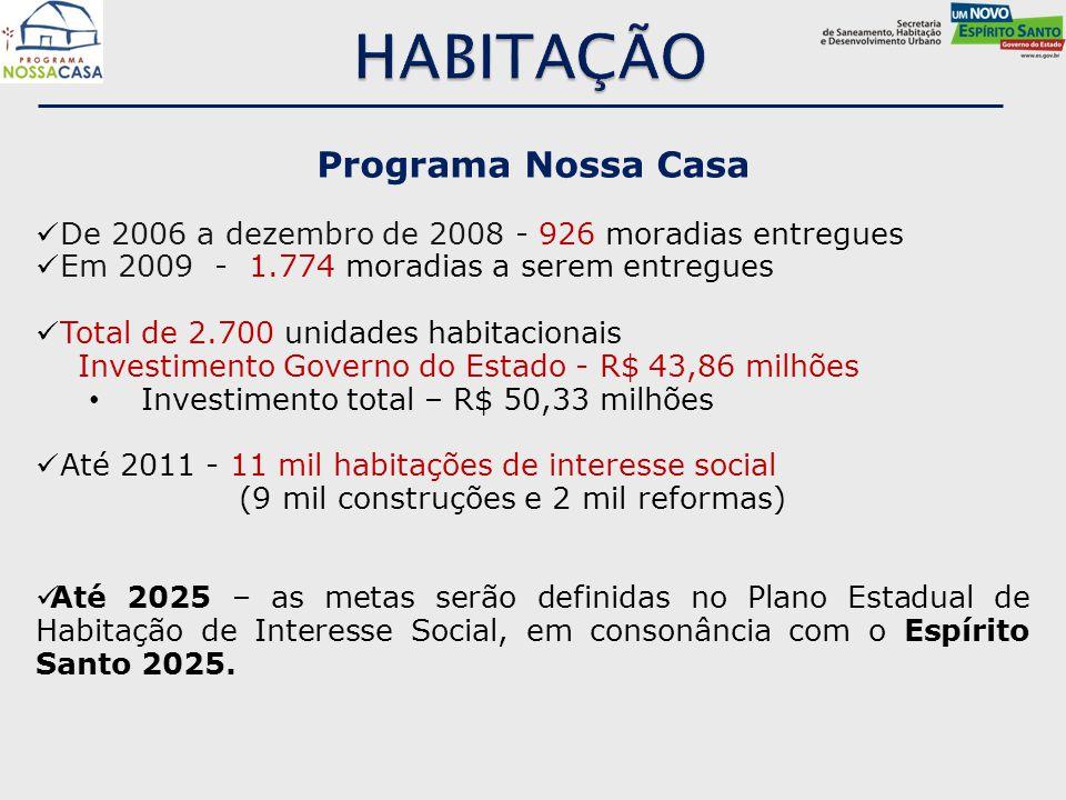 Programa Nossa Casa De 2006 a dezembro de 2008 - 926 moradias entregues Em 2009 - 1.774 moradias a serem entregues Total de 2.700 unidades habitaciona