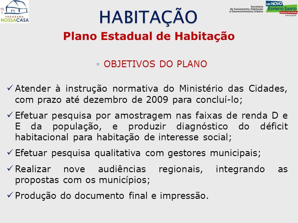 Plano Estadual de Habitação ◦OBJETIVOS DO PLANO Atender à instrução normativa do Ministério das Cidades, com prazo até dezembro de 2009 para concluí-l