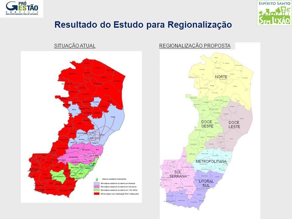 Resultado do Estudo para Regionalização SITUAÇÃO ATUALREGIONALIZAÇÃO PROPOSTA NORTE DOCE LESTE DOCE OESTE METROPOLITANA SUL SERRANA LITORAL SUL