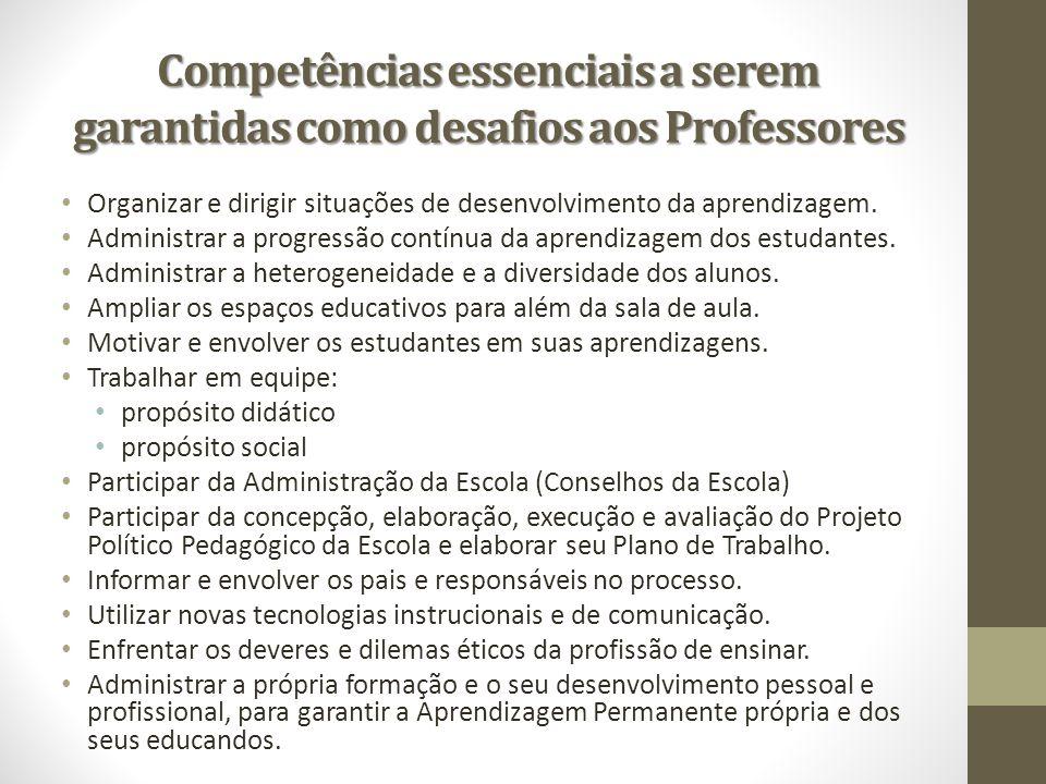 Competências essenciais a serem garantidas como desafios aos Professores Organizar e dirigir situações de desenvolvimento da aprendizagem. Administrar