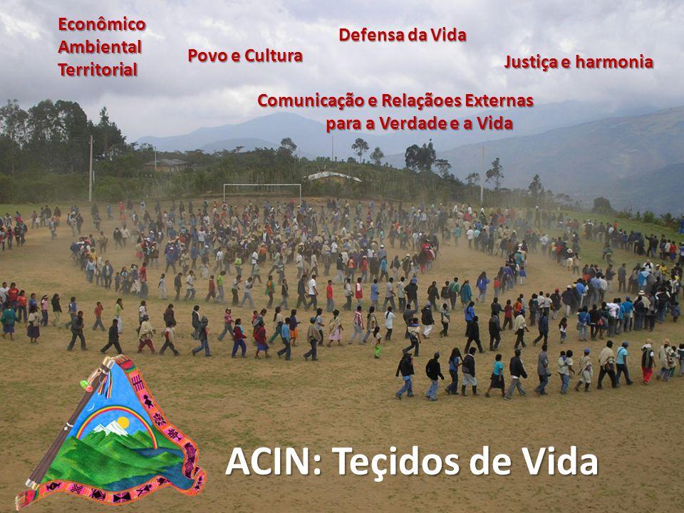 ACIN: Teidos de Vida ACIN: Teçidos de Vida Econômico Ambiental Territorial Povo e Cultura Defensa da Vida Justiça e harmonia Comunicação e Relaçãoes Externas para a Verdade e a Vida