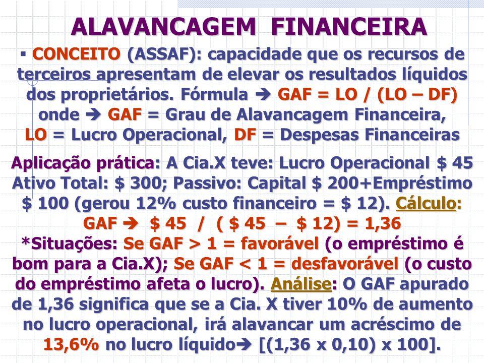 ALAVANCAGEM FINANCEIRA ALAVANCAGEM FINANCEIRA CONCEITO (ASSAF): capacidade que os recursos de terceiros apresentam de elevar os resultados líquidos do