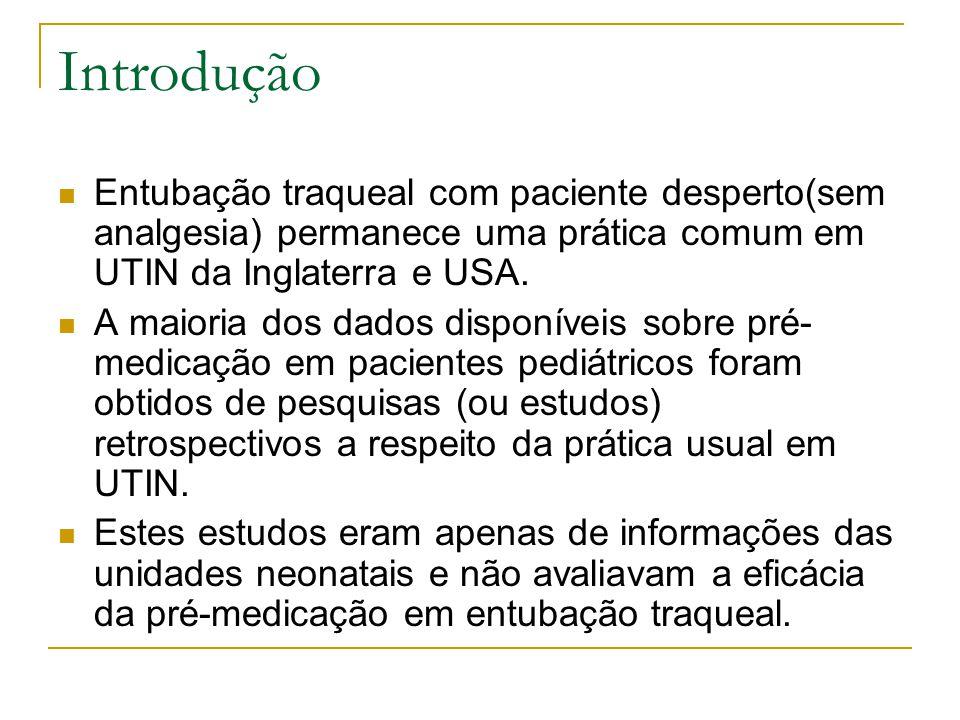 Introdução Entubação traqueal com paciente desperto(sem analgesia) permanece uma prática comum em UTIN da Inglaterra e USA.