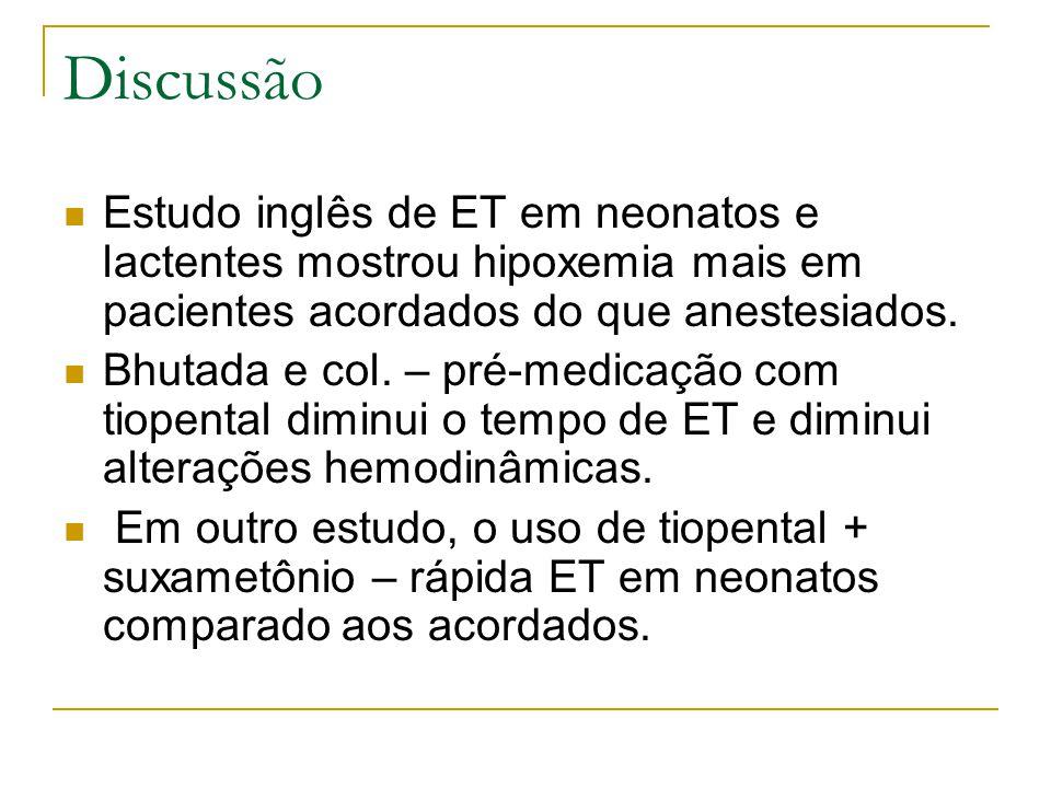 Discussão Estudo inglês de ET em neonatos e lactentes mostrou hipoxemia mais em pacientes acordados do que anestesiados.