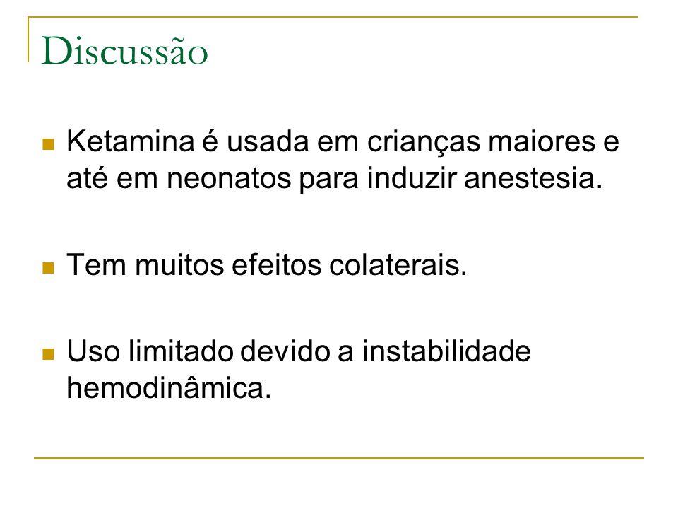 Discussão Ketamina é usada em crianças maiores e até em neonatos para induzir anestesia.