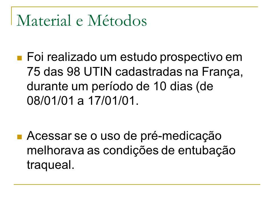 Material e Métodos Foi realizado um estudo prospectivo em 75 das 98 UTIN cadastradas na França, durante um período de 10 dias (de 08/01/01 a 17/01/01.