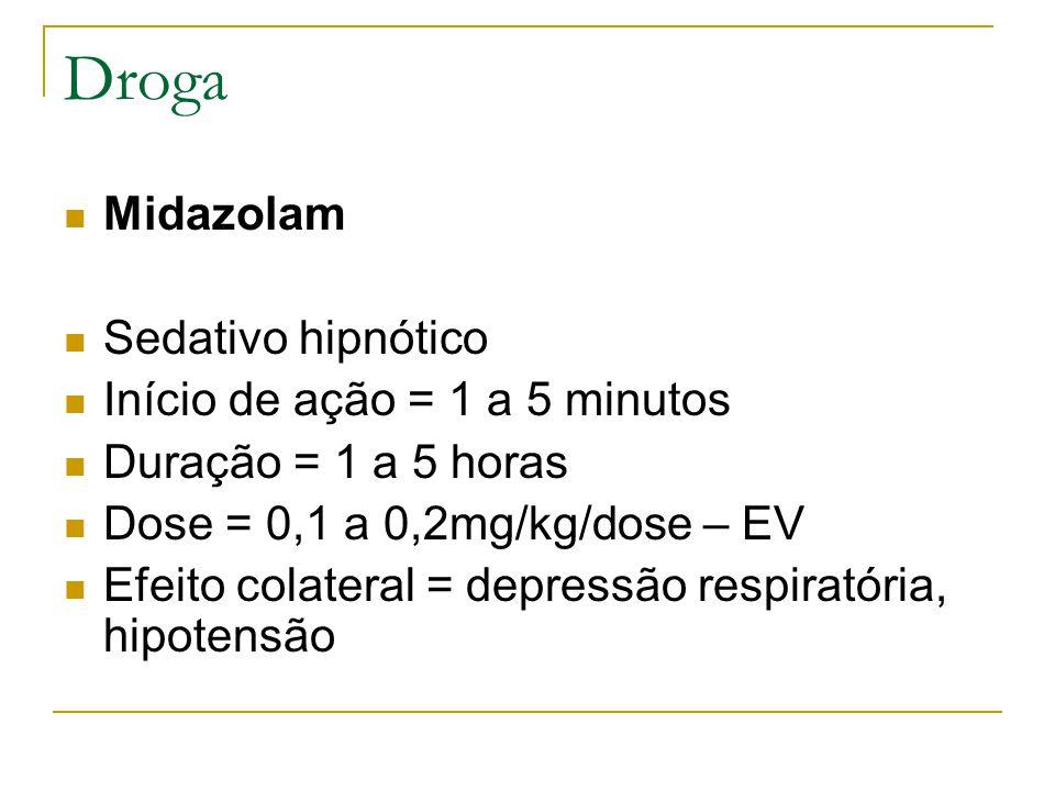 Droga Midazolam Sedativo hipnótico Início de ação = 1 a 5 minutos Duração = 1 a 5 horas Dose = 0,1 a 0,2mg/kg/dose – EV Efeito colateral = depressão respiratória, hipotensão