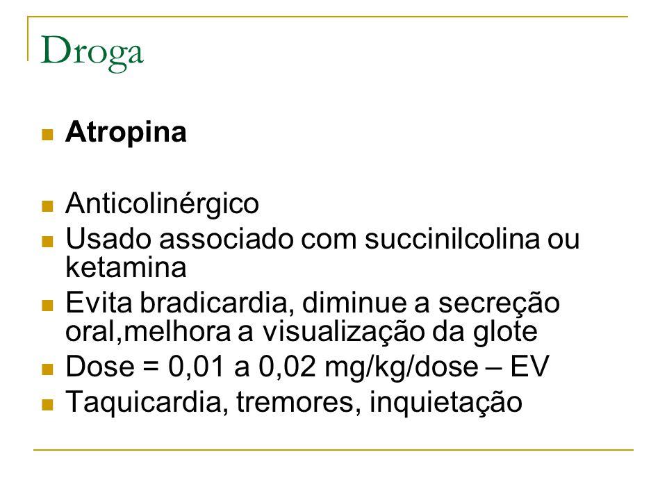 Droga Atropina Anticolinérgico Usado associado com succinilcolina ou ketamina Evita bradicardia, diminue a secreção oral,melhora a visualização da glote Dose = 0,01 a 0,02 mg/kg/dose – EV Taquicardia, tremores, inquietação