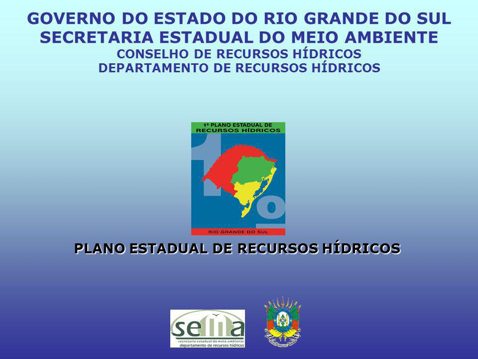 PLANO ESTADUAL DE RECURSOS HÍDRICOS GOVERNO DO ESTADO DO RIO GRANDE DO SUL SECRETARIA ESTADUAL DO MEIO AMBIENTE CONSELHO DE RECURSOS HÍDRICOS DEPARTAMENTO DE RECURSOS HÍDRICOS