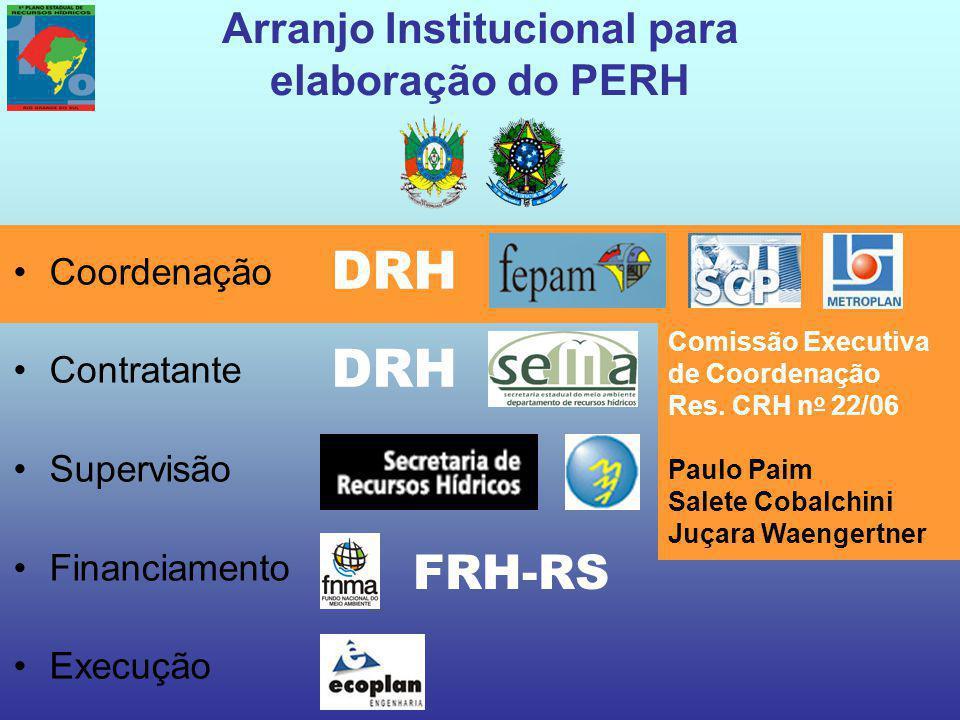Arranjo Institucional para elaboração do PERH Coordenação Contratante Supervisão Financiamento Execução FRH-RS DRH Comissão Executiva de Coordenação Res.
