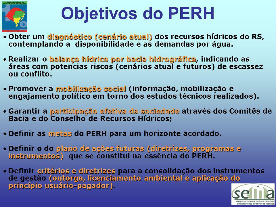Objetivos do PERH diagnóstico (cenário atual)Obter um diagnóstico (cenário atual) dos recursos hídricos do RS, contemplando a disponibilidade e as demandas por água.