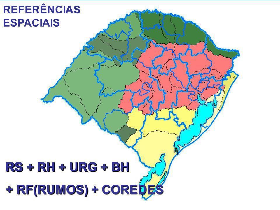 REFERÊNCIAS ESPACIAIS RS RS + RH RS + RH + URG RS + RH + URG + BH + RF(RUMOS) RS + RH + URG + BH + RF(RUMOS) + COREDES REFERÊNCIAS ESPACIAIS