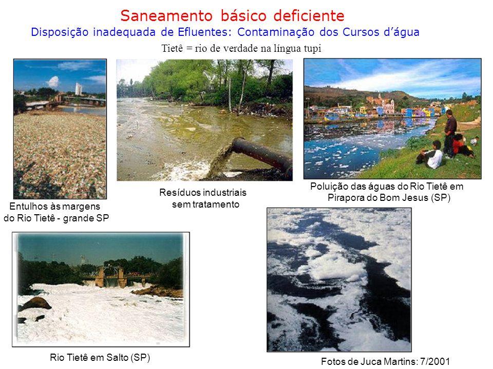 Saneamento básico deficiente Disposição inadequada de Efluentes: Contaminação dos Cursos d'água Tietê = rio de verdade na língua tupi Poluição das águ