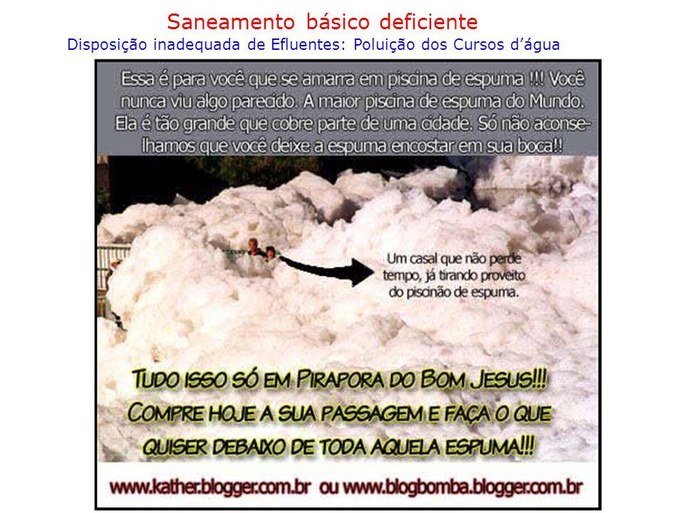 Saneamento básico deficiente Disposição inadequada de Efluentes: Poluição dos Cursos d'água