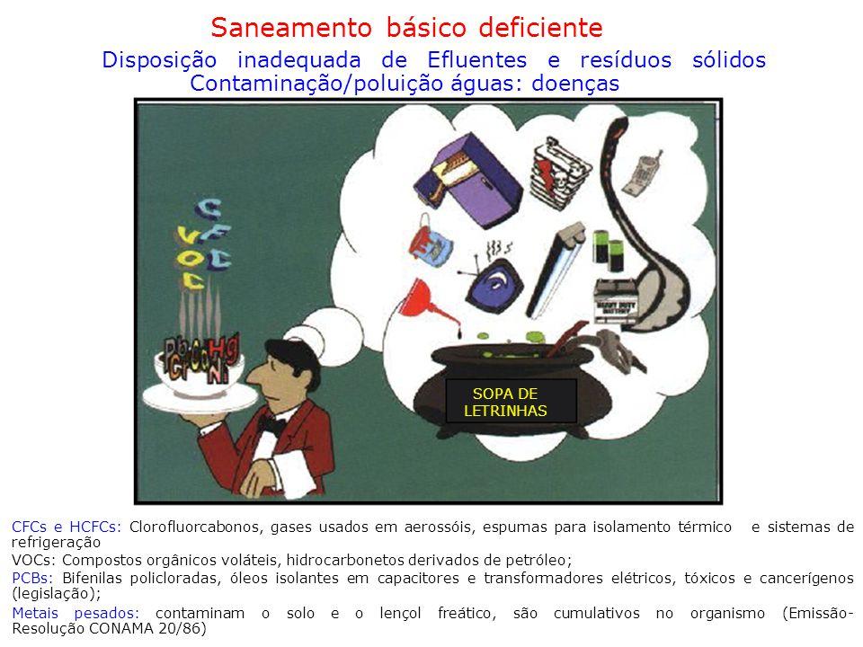 Saneamento básico deficiente Disposição inadequada de Efluentes e resíduos sólidos Contaminação/poluição águas: doenças SOPA DE LETRINHAS CFCs e HCFCs