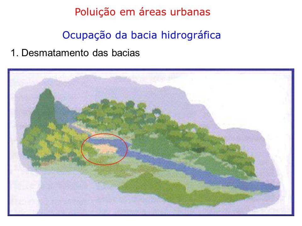 Poluição em áreas urbanas Ocupação da bacia hidrográfica 2. Mudança de uso dos solos