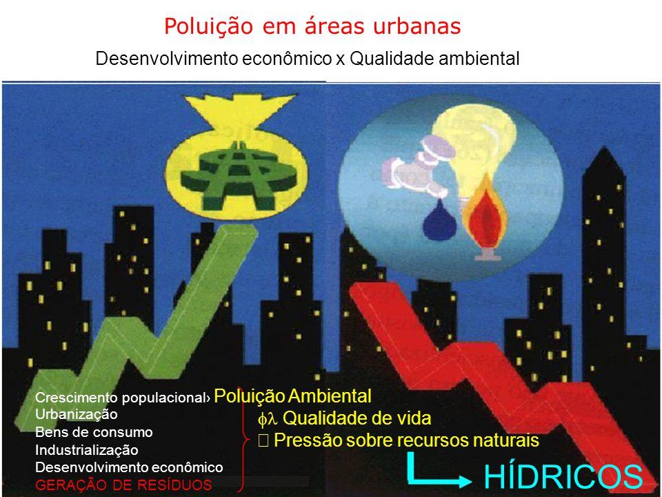 Poluição em áreas urbanas Desenvolvimento econômico x Qualidade ambiental Crescimento populacional›  Poluição Ambiental Urbanização  Qualidade de vi
