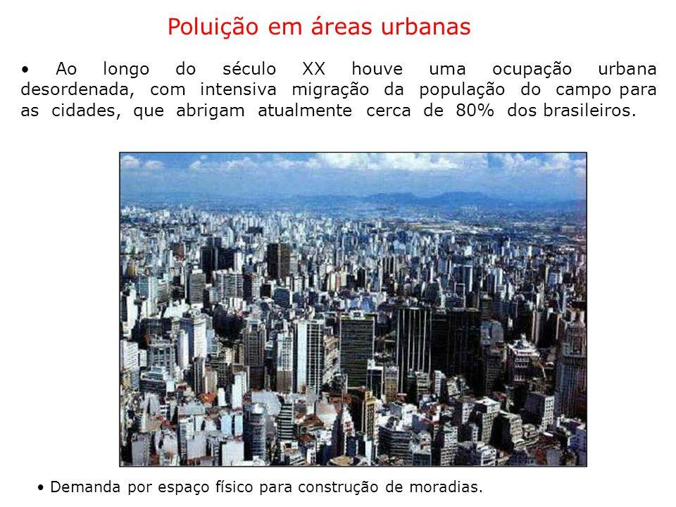 Poluição em áreas urbanas Ao longo do século XX houve uma ocupação urbana desordenada, com intensiva migração da população do campo para as cidades, q