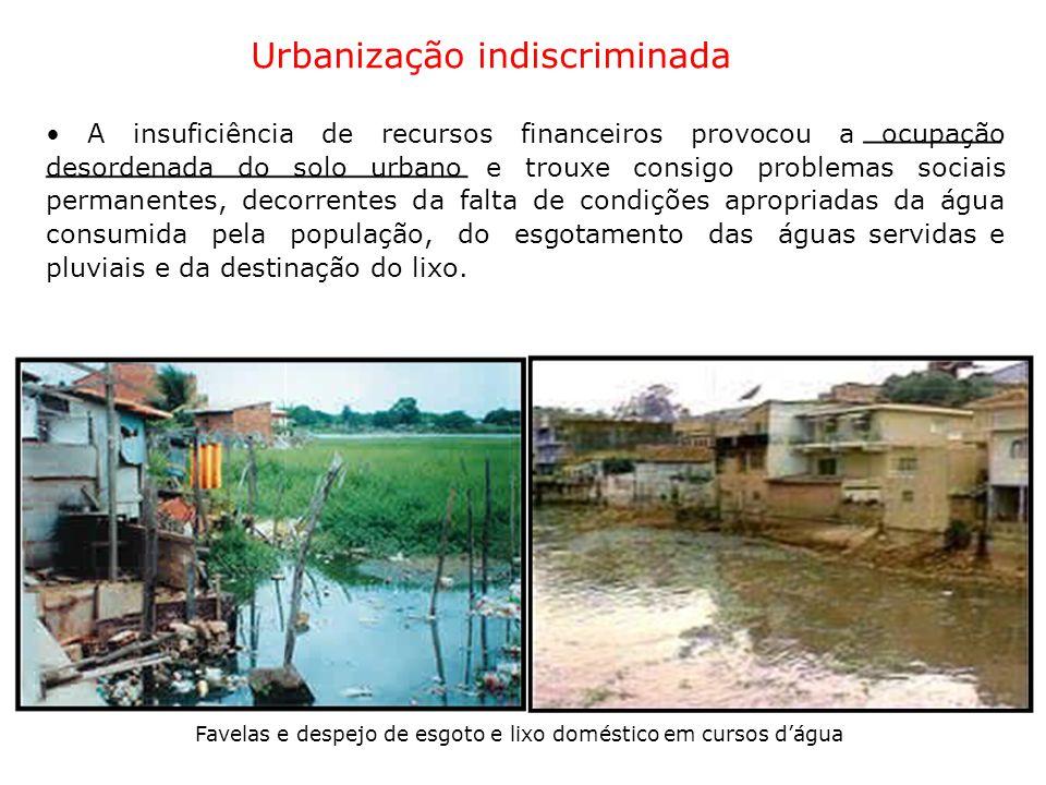 Urbanização indiscriminada A insuficiência de recursos financeiros provocou a ocupação desordenada do solo urbano e trouxe consigo problemas sociais p