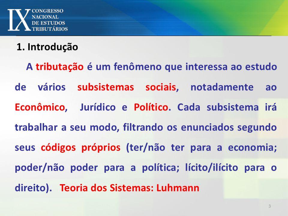 A tributação é um fenômeno que interessa ao estudo de vários subsistemas sociais, notadamente ao Econômico, Jurídico e Político.