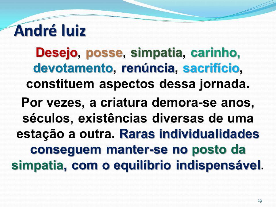 André luiz Desejopossesimpatiacarinho, devotamentorenúnciasacrifício Desejo, posse, simpatia, carinho, devotamento, renúncia, sacrifício, constituem aspectos dessa jornada.