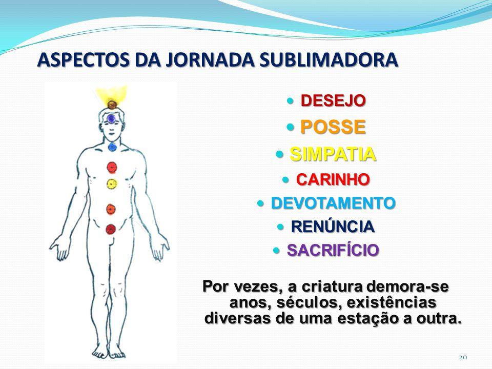 ASPECTOS DA JORNADA SUBLIMADORA DESEJO DESEJO POSSE POSSE SIMPATIA SIMPATIA CARINHO CARINHO DEVOTAMENTO DEVOTAMENTO RENÚNCIA RENÚNCIA SACRIFÍCIO SACRI