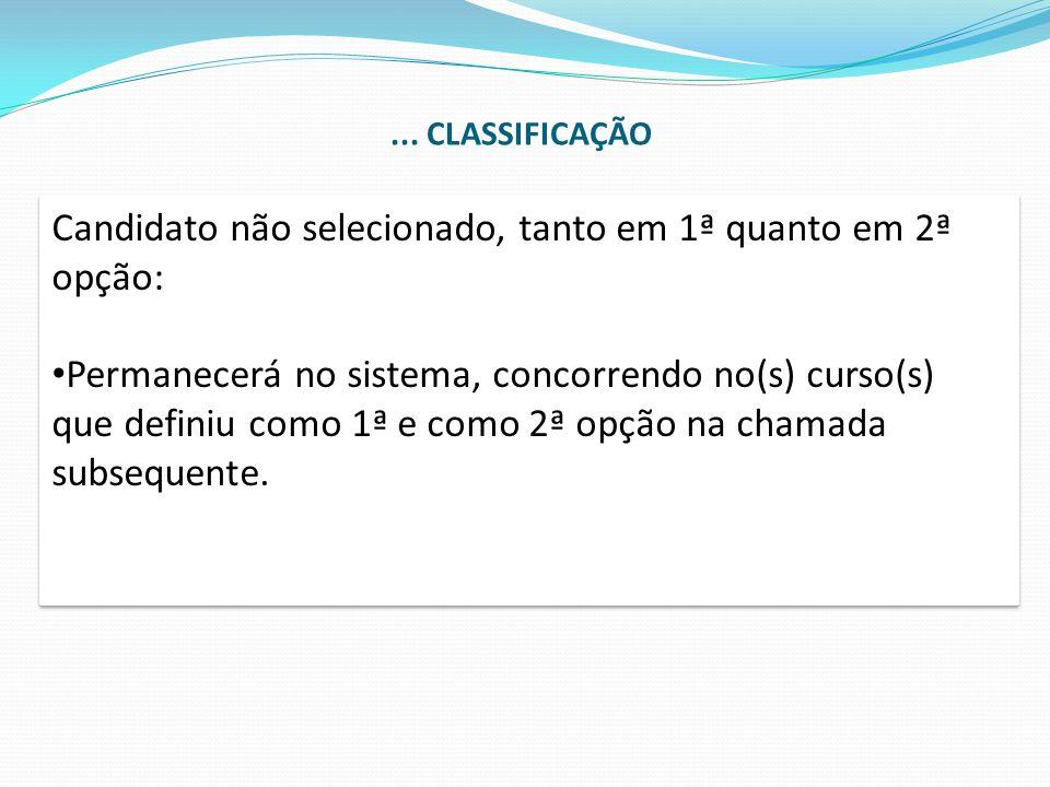 Candidato não selecionado, tanto em 1ª quanto em 2ª opção: Permanecerá no sistema, concorrendo no(s) curso(s) que definiu como 1ª e como 2ª opção na c