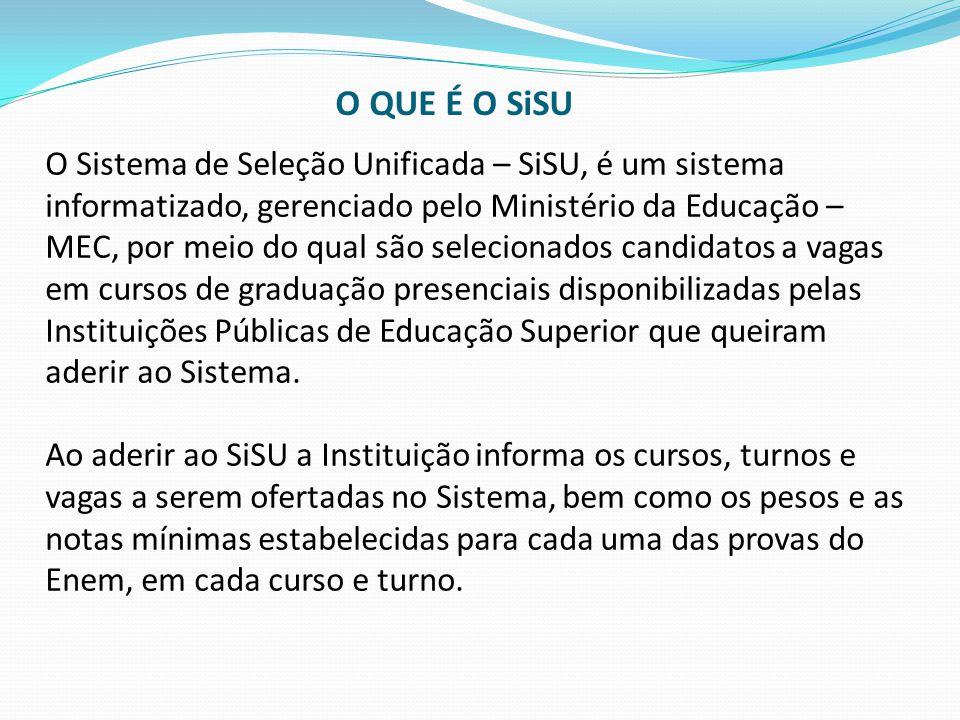 O Sistema de Seleção Unificada – SiSU, é um sistema informatizado, gerenciado pelo Ministério da Educação – MEC, por meio do qual são selecionados can