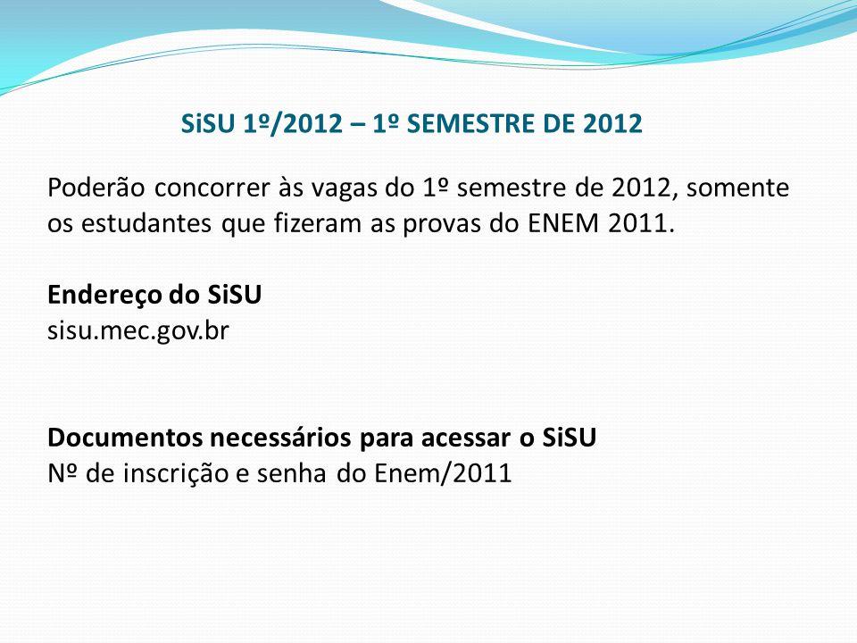Poderão concorrer às vagas do 1º semestre de 2012, somente os estudantes que fizeram as provas do ENEM 2011. Endereço do SiSU sisu.mec.gov.br Document